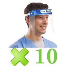 Máscara Protección Facial Protector Transparente X10