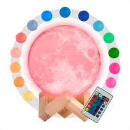 Lampara veladora luna 15 cm rgb
