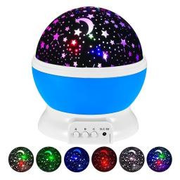 Lámpara Veladora Esfera Giratoria Proyector De Estrellas Y Luna Luz Led