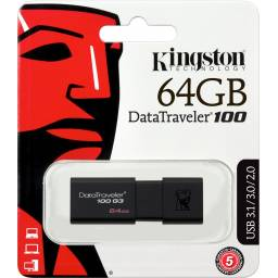 Pendrive Usb 3.1 Kingston Datatraveler 100 G3, 64gb