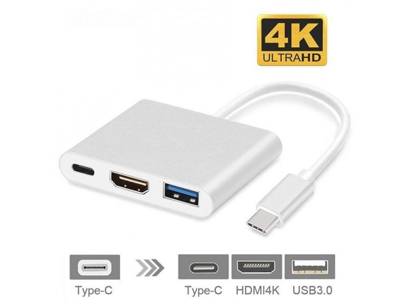 Cable Adaptador 3 en 1 Usb Tipo C a Hdmi Mac Samsung